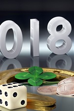 New Year 2018, gold horseshoe, glass cups, coins