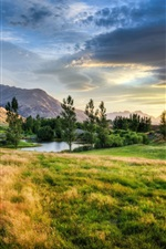 Preview iPhone wallpaper New Zealand, grass, trees, lake, clouds, sunset