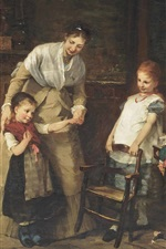 Preview iPhone wallpaper New friends, 1875, oil painting, Bertha Wegmann
