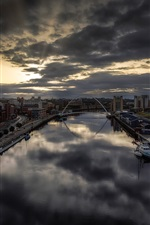 Newcastle, England, city, river, dusk, clouds