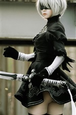 Preview iPhone wallpaper Nier: Automata, cosplay girl, sword, YoRHa No.2 Type B