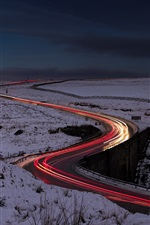 Preview iPhone wallpaper Night, road, light lines, snow, winter