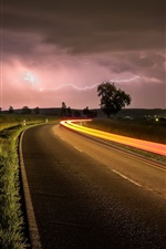 Preview iPhone wallpaper Night, road, lightning