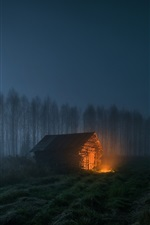 Preview iPhone wallpaper Night, trees, wood house, fire, moon