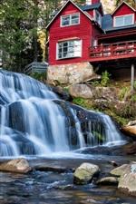 Preview iPhone wallpaper North Carolina, USA, waterfall, wood houses