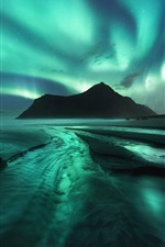 Preview iPhone wallpaper Northern lights, stars, mountains, sea, night