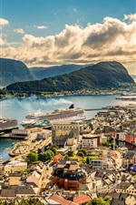 Norway, Alesund, city, houses, sea, ships