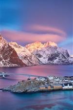 Preview iPhone wallpaper Norway, Lofoten Islands, village, sea, mountains, snow, dusk