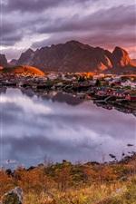 Preview iPhone wallpaper Norway, Lofoten, houses, mountains, clouds, bay, lake, dusk