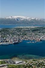 Preview iPhone wallpaper Norway, Tromso, city top view, bridge, sea