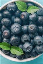 Preview iPhone wallpaper One bowl of blueberries, wood table