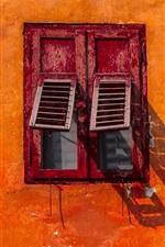 Preview iPhone wallpaper Orange wall, window, shadow