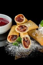 Preview iPhone wallpaper Pancake rolls, jam, food, black background