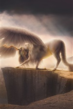 Preview iPhone wallpaper Pegasus, unicorn, fog, mountains, art picture