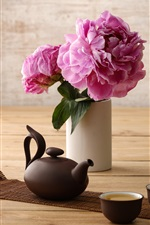 Preview iPhone wallpaper Peony, pink flowers, cup, kettle, tea