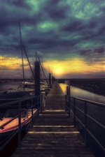 Preview iPhone wallpaper Pier, boats, night