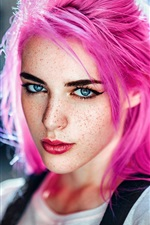 Preview iPhone wallpaper Pink hair girl, freckles, look, backlight