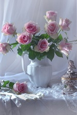 Preview iPhone wallpaper Pink roses, vase, statue, mirror