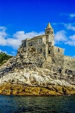 Preview iPhone wallpaper Portovenere, sea, castle, island, blue sky