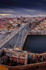 Preview iPhone wallpaper Portugal, Old City, port, river, bridge