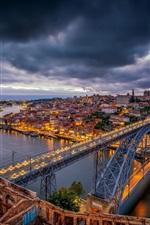 iPhone fondos de pantalla Portugal, Oporto, puente, río, ciudad, noche, luces