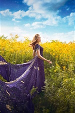 Purple skirt girl, plants