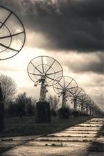 Preview iPhone wallpaper Radar, clouds, dusk
