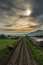 Preview iPhone wallpaper Railroad, village, fields, clouds, dusk