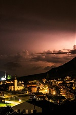Reckingen-Gluringen, Switzerland, village, night, lights