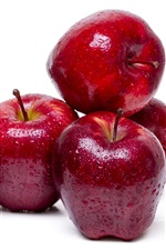 Preview iPhone wallpaper Red apples, fresh fruit, water droplets, white background