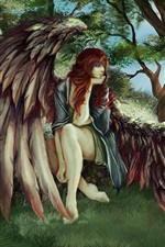 Preview iPhone wallpaper Red hair angel girl, wings, trees, cat, art picture