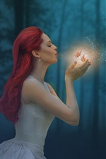 Preview iPhone wallpaper Red hair girl, butterfly, magic, forest