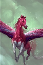 Preview iPhone wallpaper Red pegasus, horse, art picture