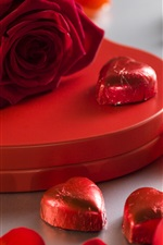 Preview iPhone wallpaper Red rose, love heart, candy, gift, petals, romantic
