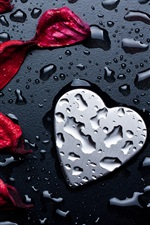 Preview iPhone wallpaper Red rose petals, love heart, water droplets