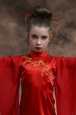 Preview iPhone wallpaper Red skirt girl, fans, Japanese style