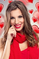 Preview iPhone wallpaper Red skirt girl, smile, love hearts