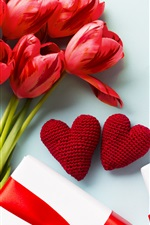 Preview iPhone wallpaper Red tulips, love hearts, gifts
