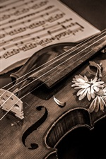 Preview iPhone wallpaper Retro style, violin, music score