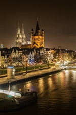 Preview iPhone wallpaper Rhine, Cologne, Germany, boats, houses, lights, night