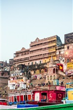 Preview iPhone wallpaper River Ganges, Varanasi, India, city, boats