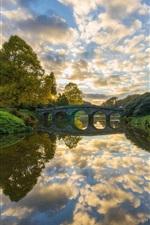 Preview iPhone wallpaper River, bridge, trees, clouds, sunrise