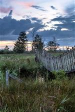 Preview iPhone wallpaper River, bushes, wooden bridge, dusk