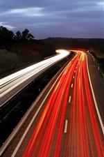 Road, night, light lines