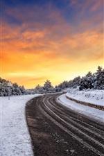 Road, snow, winter, sunset