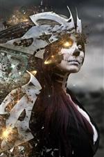Preview iPhone wallpaper Robot girl, face, creative design