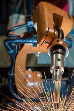 Preview iPhone wallpaper Robotic welding, sparks