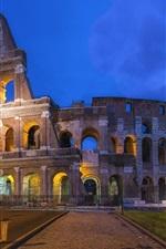 Coliseu romano, Roma, Itália, noite, luzes