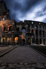 Preview iPhone wallpaper Rome Colosseum, night, clouds