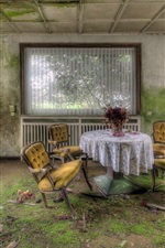 Preview iPhone wallpaper Room, ruins, furniture, table, chairs